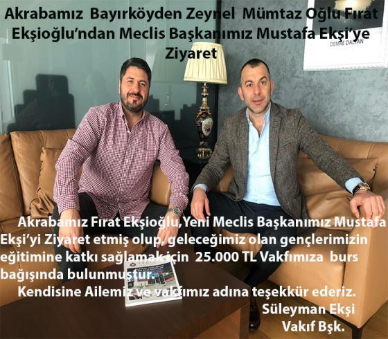 Akrabamız  Bayırköyden Zeynel  Mümtaz Oğlu Fırat Ekşioğlu'ndan Meclis Başkanımız Mustafa Ekşi'ye Ziyaret