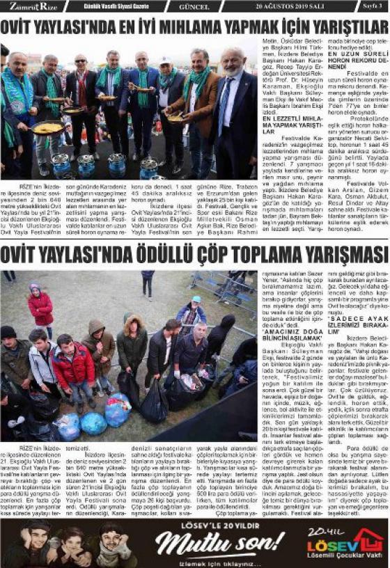 Ovit Yaylasında Ödüllü Çöp Toplama Yarışması